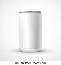 aluminio puede, plantilla, blanco