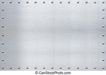 aluminio, vendimia, clavado, bordes