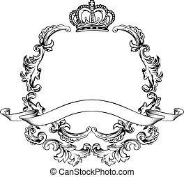 aluminio, vendimia, marco, ilustración, lujo, plantilla