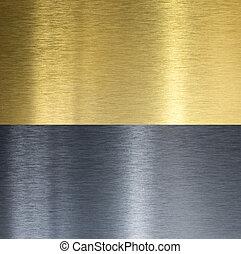 aluminio, y, latón, cosido, texturas