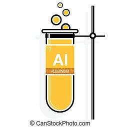 aluminium, éléments, holder., symbole, -, 13, jaune, nombre, périodique, élément, essai, table, étiquette, tube, chimie