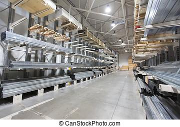 aluminium, étagères, matériel, profils, construction, entrepôt