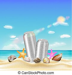 aluminium beverage can and sea shell starfish on a sea sand beach