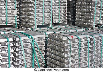 Aluminium bricks waiting for transport to the factory