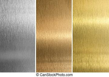 aluminium, brons, en, messing, gestikken, texturen