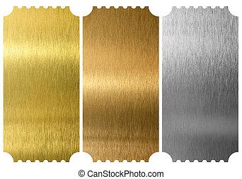 aluminium, brons, en, messing, kaartjes, vrijstaand