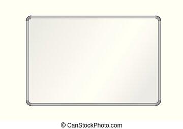 aluminium, cadre, whiteboard, isolé, illustration, réaliste, vecteur, vide