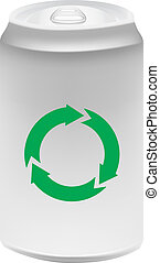 Aluminium can with recycling symbol