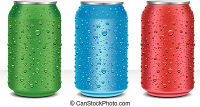aluminium cans blue, green, red, with many water drops