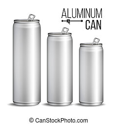 Aluminium Cans . Silver Can. Branding Design. Blank Can Beer Of Soft Drink. Isolated Illustration