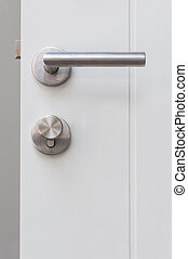 Aluminium door knob on the white door