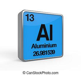 Aluminium Element Periodic Table isolated on white...