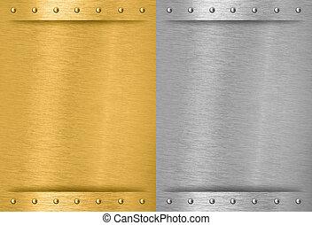 aluminium, en, messing, gestikken, metaal, platen, met, klinknagelen