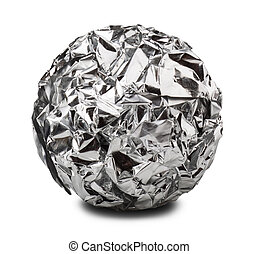 aluminium foil - aluminum paper ball isolated on a white...