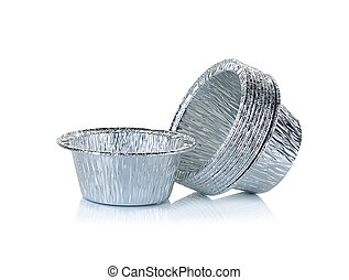 Aluminium foil cup isolated on the white background