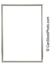 Aluminium frame over white background