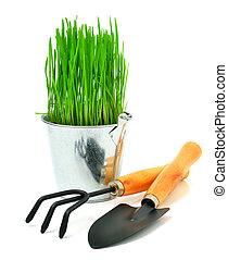 aluminium, herbe, outils, seau, pelle, râteau jardin