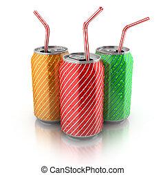 aluminium, kleurrijke, blikjes, stro