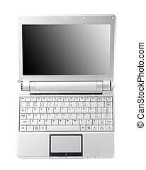 aluminium, laptop, mit, leerer schirm