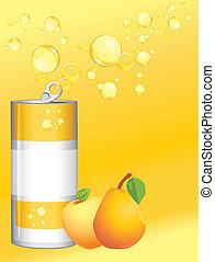 aluminium, limonade, boîte, fruit