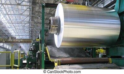 aluminium, machine, atelier, rouler, moulin, tourne, rouleau