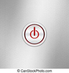 aluminium, macht, symbool, (on/off)., start, switch, energie, gebruikersinterface, geborstelde, knoop, paneel