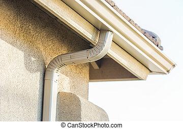 aluminium, maison, seamless, pluie, gutters., nouveau