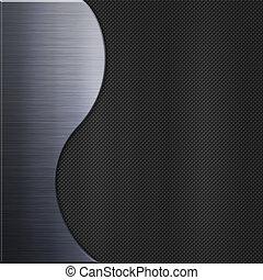 aluminium, metaalplaat, en, koolstof, vezel