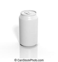 aluminium, mockup, soda, vrijstaand, leeg, witte , 3d
