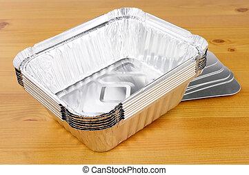aluminium, nourriture, loin, fleuret, prendre, récipients