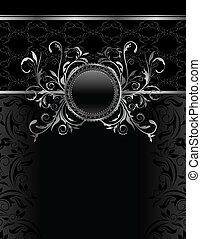 aluminium, ouderwetse , frame, -, illustratie, vector, luxe, mal
