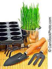 aluminium, pelle, jardin, seau, herbe, pots fleurs, râteau