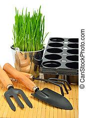 aluminium, pelle, jardin, seau, isolé, herbe, pots fleurs, râteau, blanc, outils