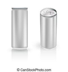 aluminium, placerar, dricka, metall, två, dricka kunna