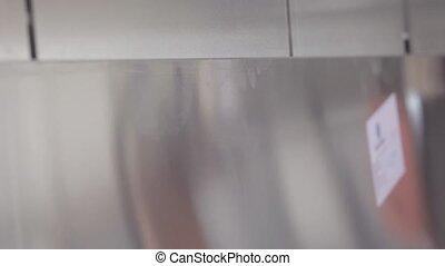 aluminium profile cutting machine with man's hands