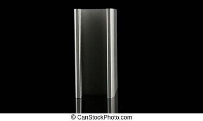 Aluminium profile sample isolated on black background.