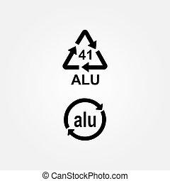 Aluminium recycling symbol ALU 41