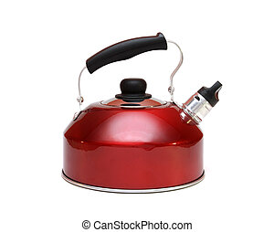 Aluminium red teapot isolated on white