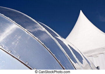 aluminium, reflexionen, anhänger