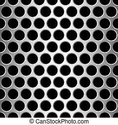 aluminium seamless pattern wit round holes, vector...