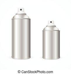 Aluminium Spray Can Template Blank. Vector