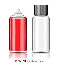 Aluminium spray cans.