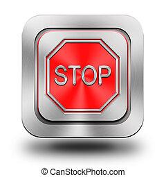 aluminium, stoppa knappen, glatt, ikon, underteckna