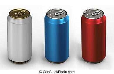 aluminium, sur, trois, illustration, boîtes, fond, blanc, 3d