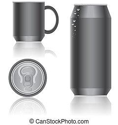 aluminium, verpackung, für, beverages., vector.