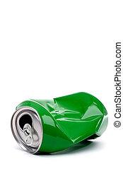 aluminium, vertical, espace, boisson, haut, écrasé, vert, boîte, fin, copie