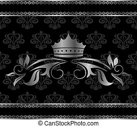 aluminium, weinlese, rahmen, krone, luxus, schablone
