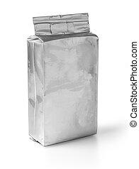 aluminium, zak, op wit