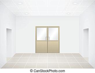 Aluminiun door in empty room