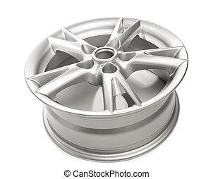 aluminum alloy wheel isolated on white